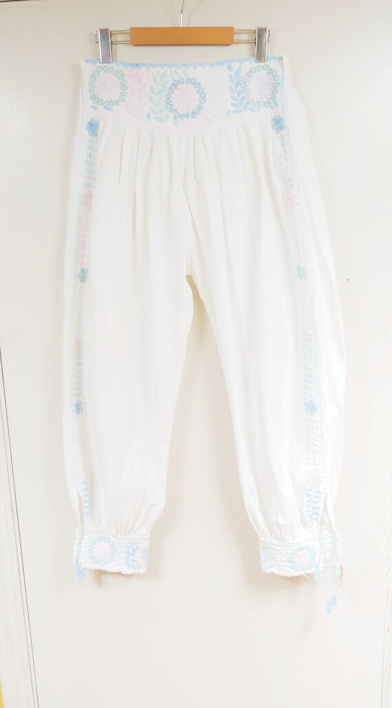 Pastel Floral Embroidered White Cotton Harem Capri