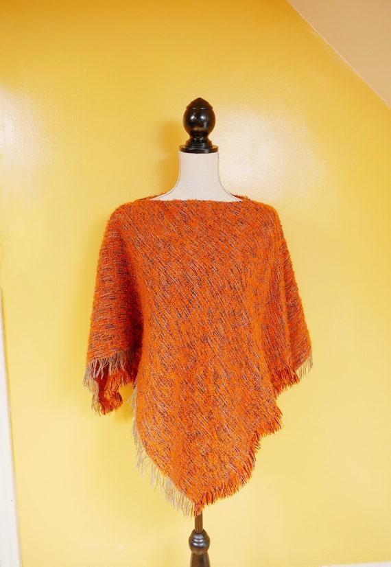 Orange Rainbow Fringed Wool Cape Poncho