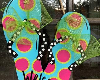 4750dcfa3 Front Door Summertime Flip Flop Decoration - Hanger