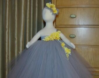 a8ddb1cc603 Grey and Yellow Tutu Dress