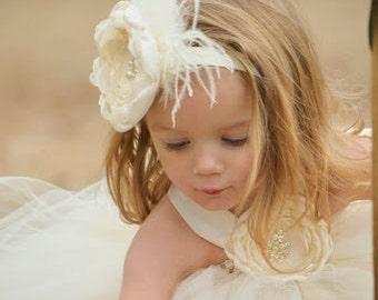ac2fe26f9642 Ivory Cabbage Rose Headband  Wedding