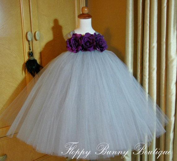 845a037ef64 Grey and Eggplant Tutu Dress  Flower Girl