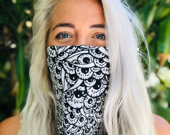 Art Bandana Face Mask,  Illustrated Eyeball Bandana Face Mask Cotton Bandana