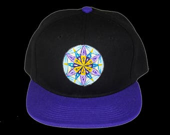 Sacred Geometry Seed of Life Hand Painted Snapback Hat, Mandala Hat, One of A Kind Snapback, Gray and Purple Heady Hat