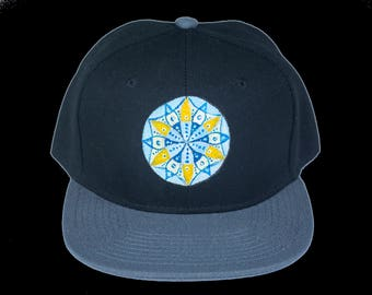 Sacred Geometry Seed of Life Hand Painted Snapback Hat, Mandala Hat, One of A Kind Snapback, Gray and Black Heady Hat