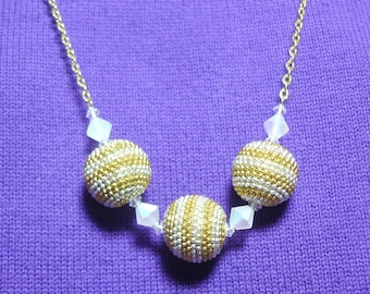 Gold and Silver Beaded Bead and Crystal Necklace