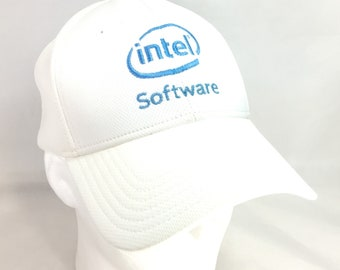 fd3733f48ff62c Intel Software Baseball Cap Hat White Blue Vintage Otto