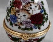 Trinket Box Jewelry Holder Kitten Cat Hinged Gold Pedestal 4 quot EggBest Offer