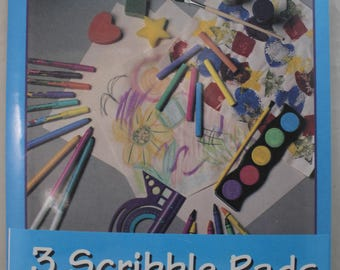 "Scribble Doodle Art Draw Drawing Pad 3 books/100 sheets ea 9"" x 12"" Roaring Spring 24205"