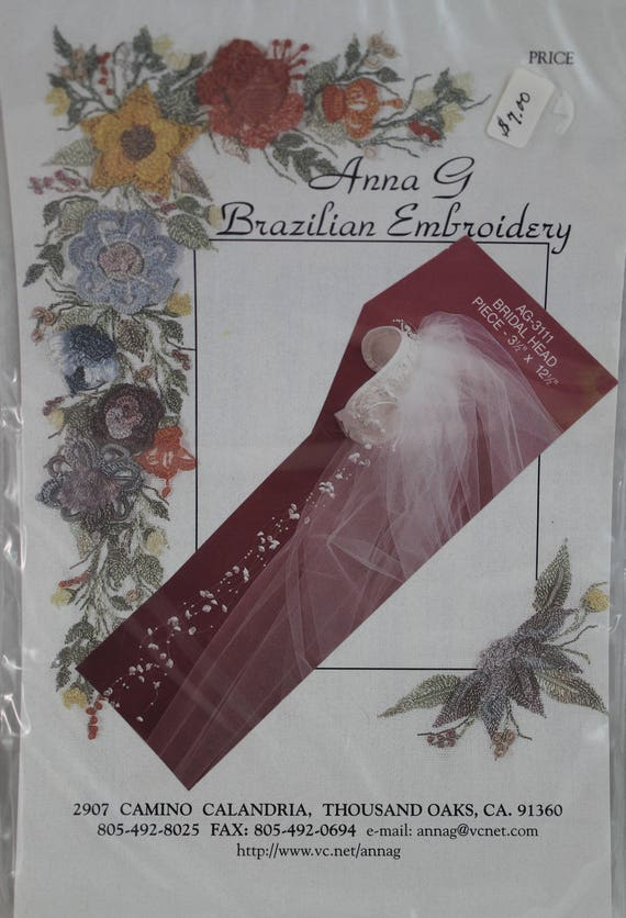 Bride Veil//Headpiece Anna G Brazilian Embroidery Stamped Linen AG3111 Ivory