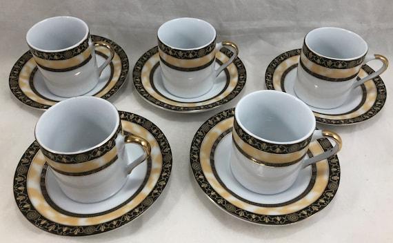 Gna Fine Porcelain Cups Saucers Demitasse Espresso Set Of 5 Etsy
