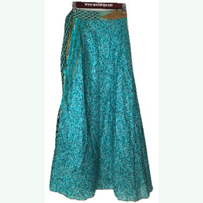 Sari Wrap Skirt Reversible 36L 44W Blue Green and Aqua Two sides