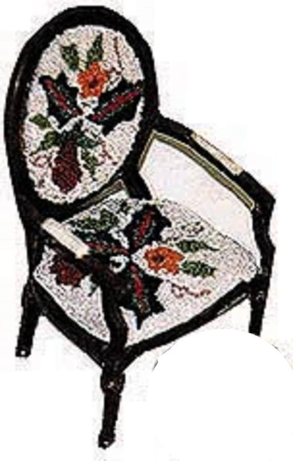 Pomegranate Chair Doll House Miniature Anna G Brazilian Embroidery AG3188 WHITE