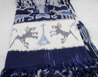 "Bedspread Cover Dye Vintage Single Size Fringed Blue/White Vintage 84"" x 45"""