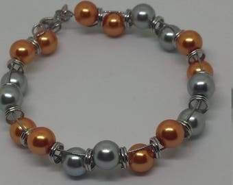 Medium Peach and Gray Memory Wire Goddess Bracelet