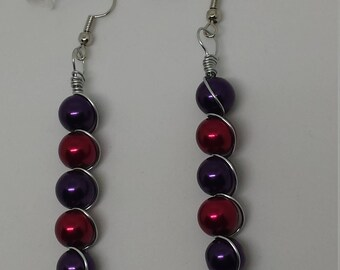 Red and Purple Wire Wrapped Earrings