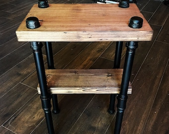 Custom Finishes End Table Nightstand Steampunk Decor Industrial Furniture Entryway