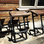 Stupendous Custom Finish Industrial Steampunk Pipe Stool Black Pipe Rustic Decor Farmhouse Red Wood Bar Stool Bar Furniture Purse Hook Creativecarmelina Interior Chair Design Creativecarmelinacom
