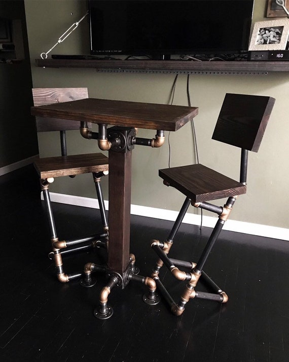 Marvelous Custom Finish Brass Pipe Pub Table And Bar Stool Set Small Industrial High Top Table Steampunk Furniture Download Free Architecture Designs Estepponolmadebymaigaardcom