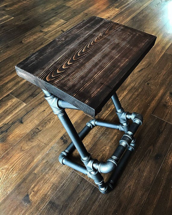 Awesome Custom Finish Industrial Steampunk Pipe Stool Black Pipe Rustic Decor Farmhouse Red Wood Bar Stool Bar Furniture Purse Hook Creativecarmelina Interior Chair Design Creativecarmelinacom