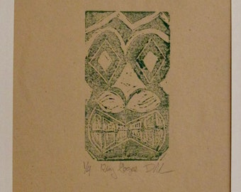Hand Pulled King Gogee Print in Green