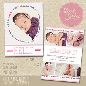 BA4G - Photoshop Template for photographers - INSTANT DOWNLOAD Baby Announcement 5x7 Birth Announcement Template