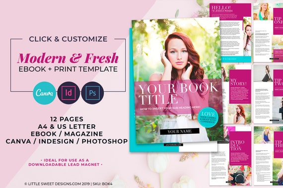 Ebook Template Canva Indesign Indd Photoshop Psd Instant Download