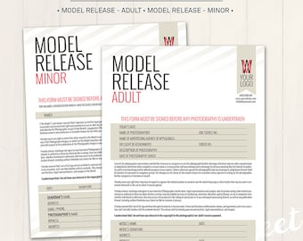 Photography Model Release Forms (Adult & Minor) - Photoshop Template for photographers (MR01) - INSTANT DOWNLOAD