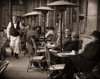 Paris Photography - Parisan Cafe - Fine Art Print, Monochrome, Black and White, Cafe, Home Decor
