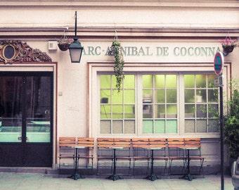 Paris Photography, Le Marais, rue de Birage - Pink Parisan Cafe - Fine Art Print, Pastels, Pink, Home, Home Decor
