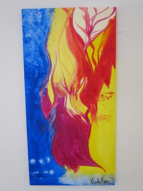 Abstract Art Acrylic Painting Fire And Ice 15x30