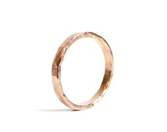 Rose Gold Ring Rose Gold Hammered Ring -  14K Rose Gold Ring, Pink Gold Ring -  Stacking Ring, Artisan Ring, Modern Ring,  Promise Ring