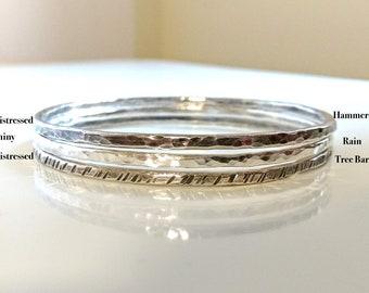 Solid Fine Silver Bangle Bracelet, Hammered Oxidized Silver Bangle,  Rustic Artisan 999 Textured Silver, Single Bangle
