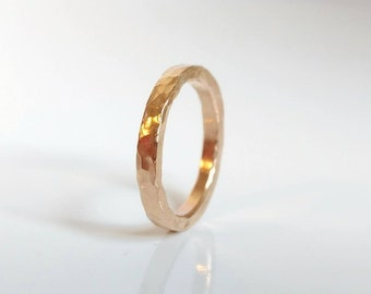 Gold Ring Band, 14K Yellow Gold Filled Wedding Band, Promise Ring, Affordable Gold Ring, Artisan Hammered Gold Ring, Wide Gold Band