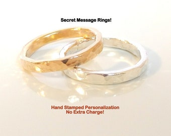 His and Hers Rings- Gold Fill and Silver Couples Rings, Hammered Bands, Wedding Bands  Ring Set, Artisan Rings