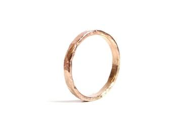 Rose Gold Ring Rose Gold Hammered Ring - 14K Rose Gold Filled Ring, Pink Gold Ring -  Stacking Ring, Artisan Made Modern  Promise Ring