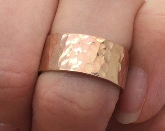 Rose Gold Wide Ring Band, Hammered Ring, Affordable Rose Gold , 14K Rose Gold Fill Wedding Band, Promise Ring