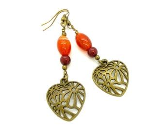 Brass Filigree Heart Gemstone Earrings, Bohemian Earrings, Raw Gemstone Jewelry, Burgundy Burnt Orange Fall Earrings