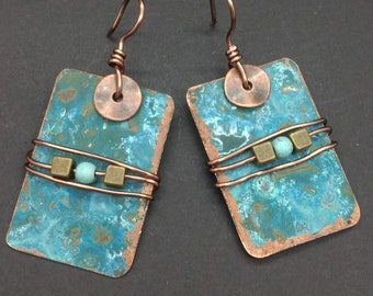 Artisan Handcrafted Blue Copper Earrings, Patina Copper Earrings, Turquoise Copper Bohemian Jewelry, Hand Forged Metalwork Earrings