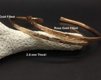 Hammered Cuffs - Gold Filled, Silver or Rose Gold Fill Women's Cuff, Skinny Open Bangle Bracelet- Minimalist Stacking Bangle