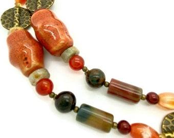 Chunky Rustic Beaded Necklace, Earthy Boho Jewelry, Raw Green Opal with Carnelian & Citrine,