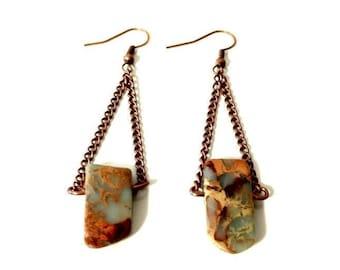 Sea Sediment Jasper Bohemian Earrings- Blue Brown Stone Earrings, Gift for Her, Gypsy Chandelier Earrings, Bohemian Spike Earrings