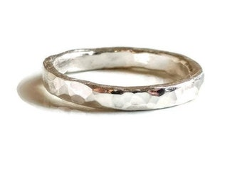 Fine Silver Hammered Wedding Ring, Unisex Silver Band, Wide Silver Band, Stacking Ring, Hand Forged Metalsmith Ring, Mens Wedding Ring