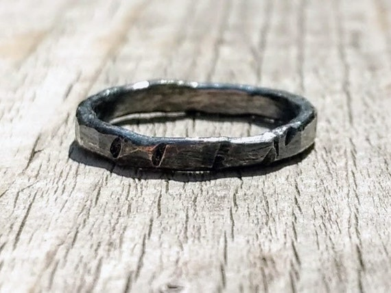 Stack Silver Ring,Hammered Ring Black Silver Ring Man/'s Ring Unisex Rustic Ring,Oxidized Jewelry,Textured Ring Oxidized Sterling Silver