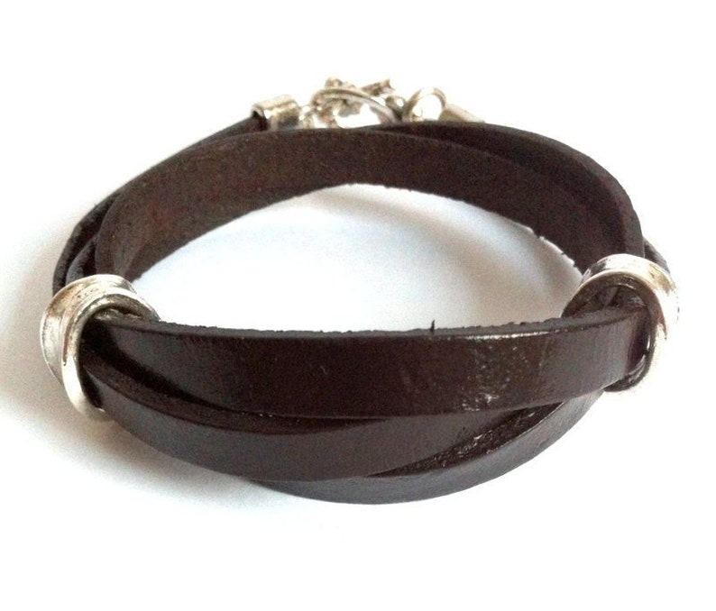Dark Brown Triple Wrap Boho Leather Cuff Flat Leather Strap  Friendship Bracelet Unisex Leather Cuff Bracelet
