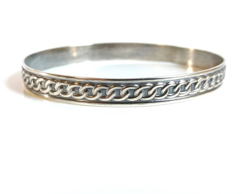 b8de64baacb Silver Bangle Solid Silver Bangle Bracelet Patterned | Etsy