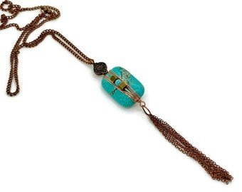 Turquoise Pendant - Artisan Made Hand Wrapped Antique Copper & Turquoise Long Pendant Necklace, Boho Jewelry Rustic Copper Tassel Necklace