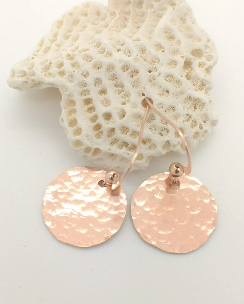 Earrings Hammered Gold CoinEtsy Discs Disc Rose Pink P0Ownk