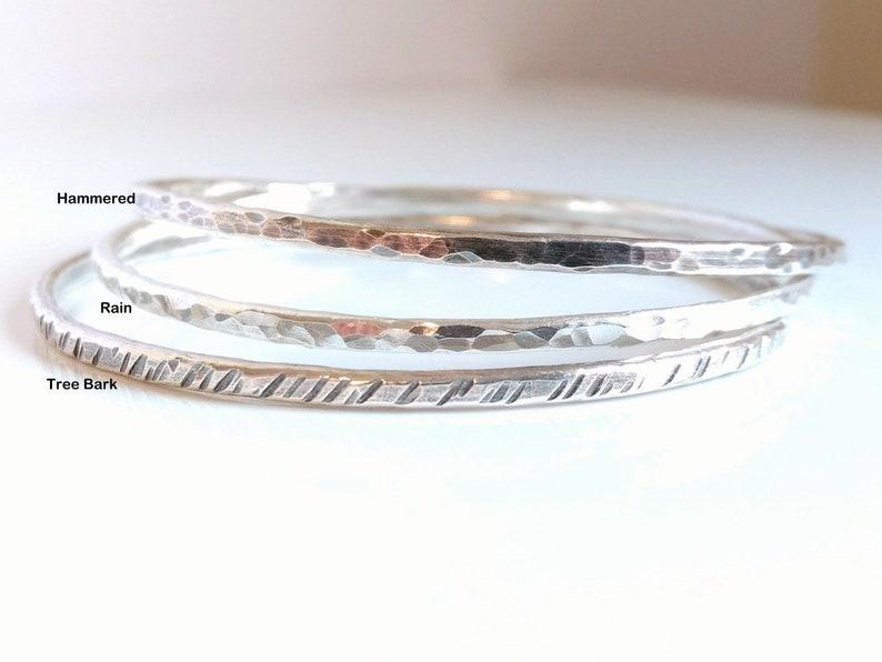 42c98621193 Hammered 999 Fine Silver Bangle Shiny Bracelet or Oxidized   Etsy