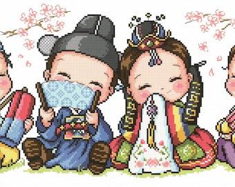 Korean Traditional Weddings - SO-110 - Korean Cross Stitch Pattern Leaflet SODA Stitch - Modern Cross Stitch Chart - Kawaii Cross Stitch